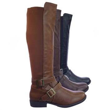 Montana75 Fur Lined Fashion Equestrian Riding Boots w Elastic Panel Belt Harness