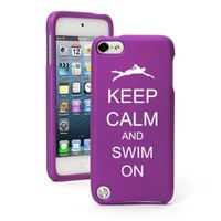 Apple iPod Touch 5th / 6th Generation Purple Rubber Hard Case Snap on 2 Piece BH804 Keep Calm and Swim On