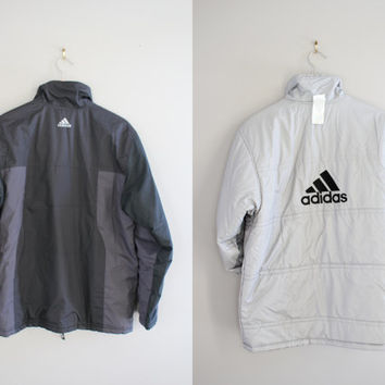 2 in 1 Reversible Adidas Puffer Jacket Black Grey Big Logo Unisex 90s Vintage Sport Size M