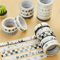 5 pcs/lot black&white washi adhesive masking tape DIY album decorative tape kawaii stationery scrapbooking stickers