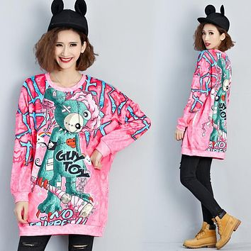 Winter Harajuku Clothing Women Korean Fashion Cartoon Gily Toy Bear Print Cute Hoodies Female Funny Pink Kawaii Sweatshirt Long
