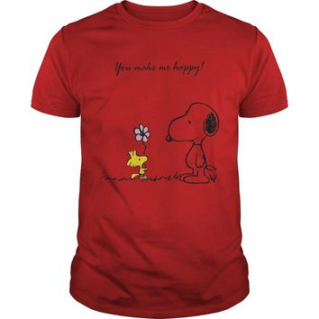 Snoopy and Woodstock you make me happy shirt Guys Tee