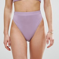 ASOS Mix and Match High Waist High Leg Bikini Bottom in Rib at asos.com