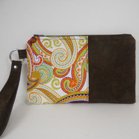 Brown Suede and Paisley Zipper Wristlet, Repurposed Suede Wristlet, iPhone Wristlet Wallet, Mobile Accessory, Accessory Pouch, Ready to Ship