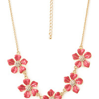 Lacquered Floral Bib Necklace