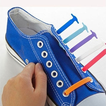 16Pc/Set Fashion Unisex Women Men Athletic Running No Tie Shoelaces Elastic Silicone Shoe Lace All Sneakers Fit Strap [8822144963]