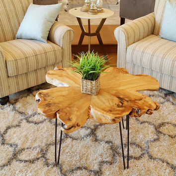 Live Edge Coffee Table with Hairpin Legs, Living Room Decor, Mid Century Modern, Industrial Rustic, Primitive, Cedar Table, HW950-923-190