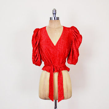 Wrap Blouse Crossover Blouse Metallic Blouse Red Blouse Puff Sleeve Blouse Ruched Sleeve Crop Blouse 70s Blouse 70s Disco Blouse S Small