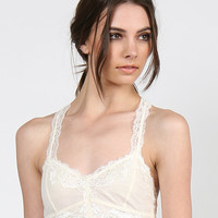 Racer Back Lace Bra - Ivory - Large