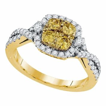 14kt Yellow Gold Women's Round Natural Canary Yellow Diamond Square Cluster Ring 1.00 Cttw - FREE Shipping (US/CAN)