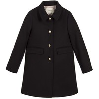 Girls Navy Blue Wool Coat