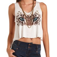 Leopard Eyes Graphic Crop Tank: Charlotte Russe