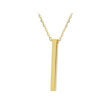 """Golden Satin Finish Bar Pendant (20mm) Necklace in Sterling Silver, 16""""+ 1.5"""""""