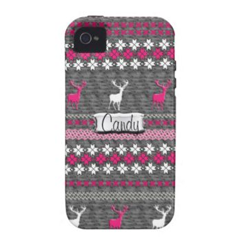 Pink Grey White Stag Deer Trendy Christmas Pattern Vibe iPhone 4 Cases
