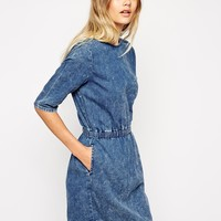 ASOS Waisted Denim T-Shirt Dress in Acid Wash