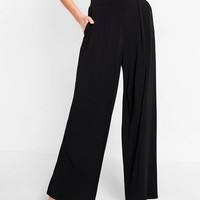 High Waisted Jersey Knit Wide Leg Dress Pant