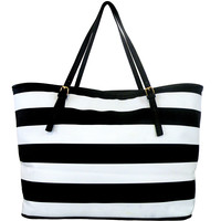 Striped Large Tote Bag