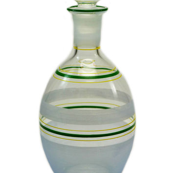 Green and Frosted Art Deco Glass Decanter, Vintage English, 1920s-30s