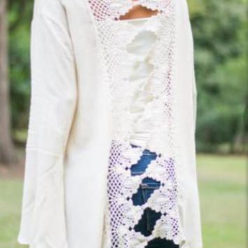 White Cutout Lace Back Trumpet-Sleeve Shirt