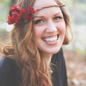 Poppy Red Floral Head Wreath / Flower Crown / Circlet / Hair Accessory, Hippie / Boho / Rustic / Woodland Wedding
