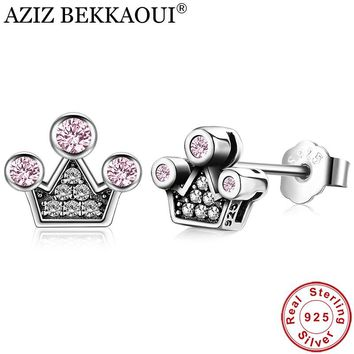 AZIZ BEKKAOUI Lovely 100% 925 Sterling Silver Pink Crystals Queen Crown Mountain Stud Earrings for Women femme Fine Jewelry Gift