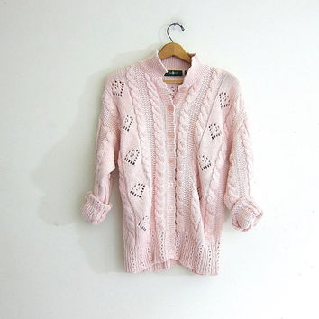 Vintage pink cardigansweater. Oversized sweater. Chunky cotton knit crochet sweater. size large.