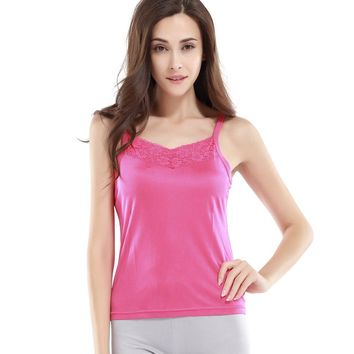 100% Natural SILK women Camisoles Lace camisole healthy Basic top Solid knitted Comfortable fabric NEW