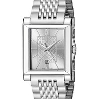 Gucci G-Timeless Rectangle Analog Display Swiss Quartz Silver-Tone Men's Watch(Model:YA138501)