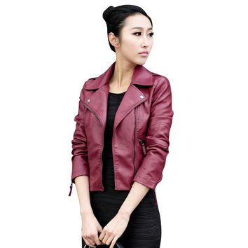 Hot Fashion Design Women Leather Jacket Zipper collar Punk Coat Biker Jacket Outwear