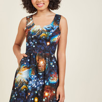 Heart and Solar System A-Line Dress