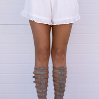 Ruffle White Shorts