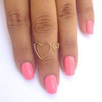 Gold Thin Double Heart Ring