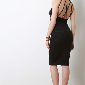 Strappy Back Mock Neck Midi Dress