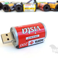BAT™ USB 32GB - Film 36mm Agfa Color Film roll - Vintage films - Red - Camera analog films - Color prints - Offer with Extension Angle Cable