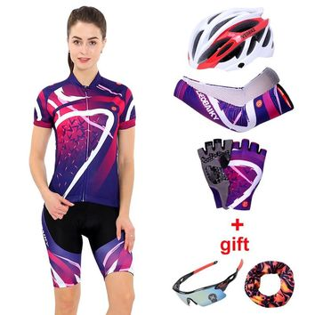 Women Cycling Clothing Set 2018 Summer Pro Team MTB Bike Clothes Ladies Cycling Jersey Sets Anti-UV Bicycle Helmet Cuffs Gloves