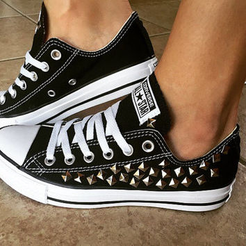 Custom Black Converse All Stars Studded Chuck Taylors ALL SIZES & COLORS! Custom Shoes; Wedding Converse; Bling Converse; Festival Shoes;