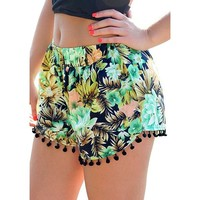Womens Small Balls Tassel Edge Floral Print Beach Shorts Yellow Green