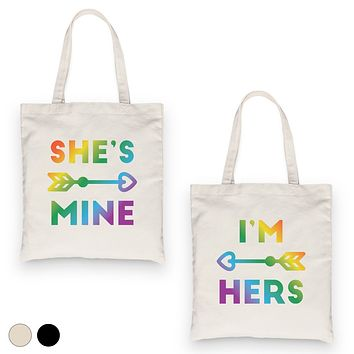 LGBT She's Mine I'm Hers Rainbow BFF Matching Canvas Bags