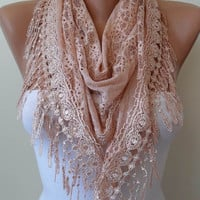 Lace Scarf - Salmon Scarf with Salmon Lace Trim Edge - Triangular