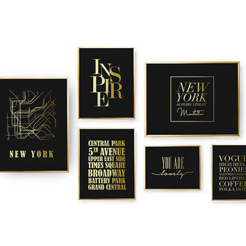 SET of 6 Prints, New York Prints Set, Inspire Print, Bedroom Decor, Real Gold Foil Print, Home Decor, Typography Prints, NY Metro Stations