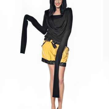 SEXY Yellow Woollen Shorts with Removable Lace Belt / Stylish Fall Winter Trouser Plus Sizes