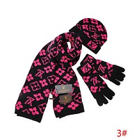 Louis Vuitton LV Newest Popular Women Men Monogram Pattern Warm Knit Hat Cap Scarf Gloves Set Three Piece 3# I-AJIN-BCYJSH