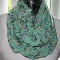 Mint Nautical Inspired Chiffon Scarf (lightweight, spring, summer scarf ) - Sail boats