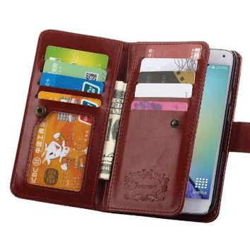 S5 Case, Galaxy S5 Case, Joopapa Galaxy S5 Luxury Fashion Pu Leather Magnet Wallet Credit Card Holder Flip Case Cover with Built-in 9 Card Slots for Samsung Galaxy S5 / Galaxy Sv / Galaxy S5 I9600 (Brown)