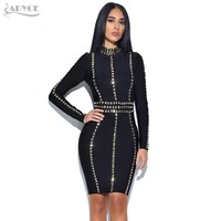 2019 Summer New Arrive Women Bandage Dress Stand Neck Long Sleeve Luxury Sequined Knee-Length Club Celebrity Evening Party Dress
