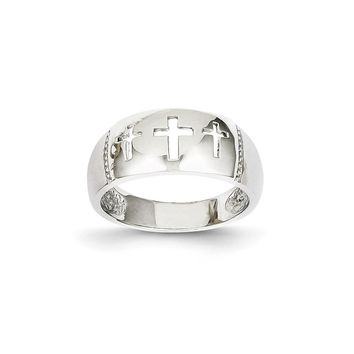 14k White Gold Polished 3 Cross Cut-out Ring - Religious Jewelry