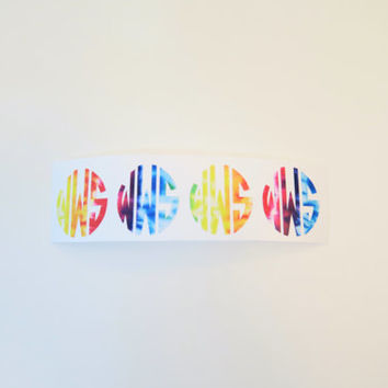"Set of 1"" Tie Dye Circle Monogram Decal"