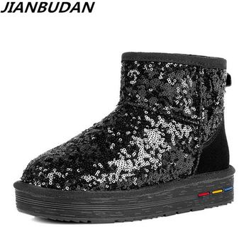 JIANBUDAN Brand fashion winter women boots sequins leisure warm snow boots high quality leather Anti-skid fur boots 35-40