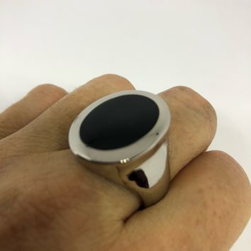 Vintage 1980's Gothic Black Onyx stainless steel Men's Ring