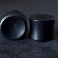 "Organic Concave Black Wood Plugs 9/16"" (14mm)"